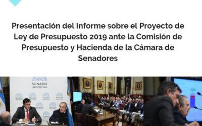Presentación del informe sobre el proyecto de ley de Presupuesto 2019, ante la Comisión de Presupuesto y Hacienda de la Cámara de Senadores